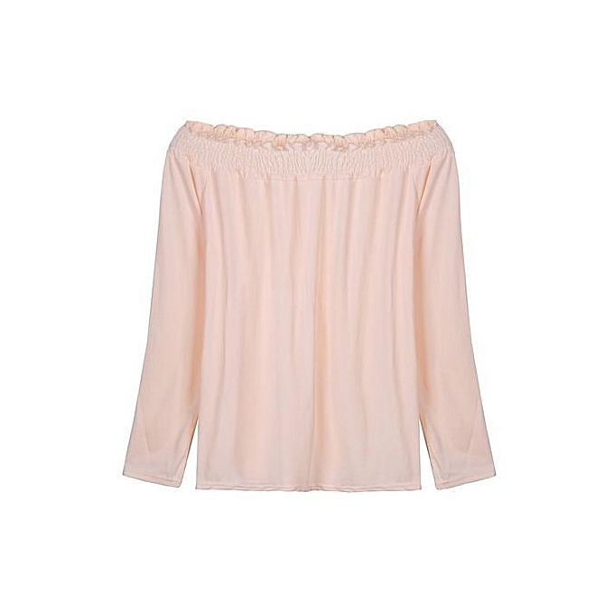 d6088fec7844c Fashion Women Shirred Off Shoulder Frill Casual Long Sleeve Blouse ...