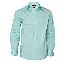 Turquoise Green Long Sleeved Slim Fit Shirt