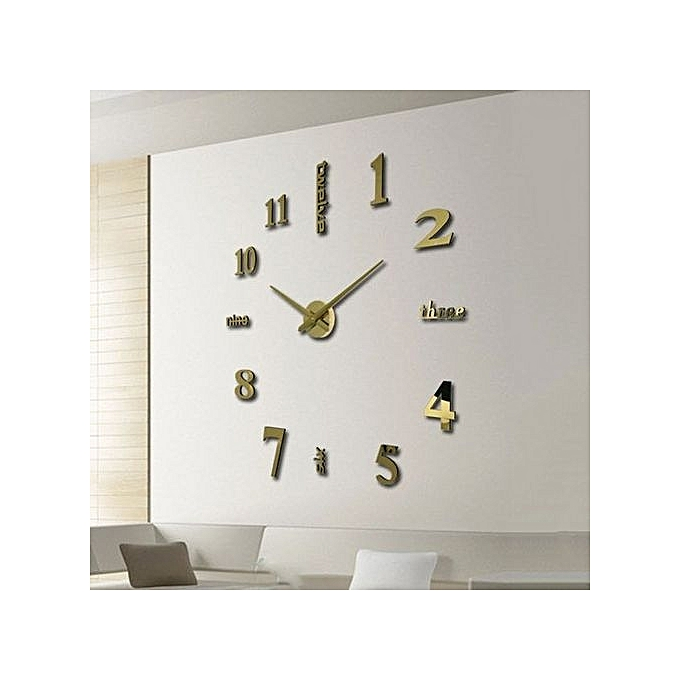 Generic Yika Large Number Wall Clock Diy 3d Mirror Sticker Home