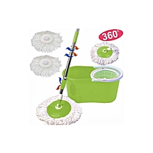 360° Rotating Floor Mop Microfiber Spinning Magic Spin Easy with Bucket 2 Heads - Green