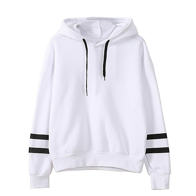 Autumn Winter Women Hooded Sweater Long Sleeves Contrast Stripes Casual  Loose Hoodies Top Pullover 26cd0dda5