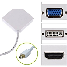 3in1 Mini Displayport To HDMI DVI VGA Convertor Cables Adapter For MacBook, IMac(LG51) Lenovo Samsung Laptop, White