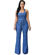 Grace new women jumsuits & rompers jean material sashes fashion women jumpers European and American style-blue