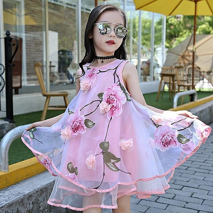 0fc255358374b Flower Girls Dress Summer Style Toddlers Teen Children Princess Clothing  Fashion Kids Party Clothes Sleeveless Dresses