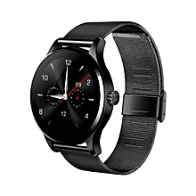 K88H Bluetooth Smart Watch Heart Rate Track Wristwatch Stainless Steel BK
