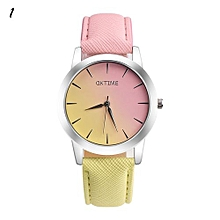 Candy Color Leather Quartz Wristwatch For Students #1 - Pink & Yellow