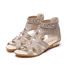 Spring Summer Ladies Women Wedge Sandals Fashion Fish Mouth Hollow Roma  Shoes - Beige - 5 f5e2452097d5