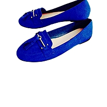Ladies Suede Blue Flat Shoes.
