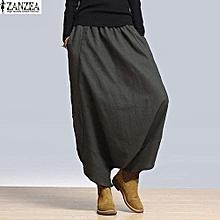 ZANZEA Women Harem Baggy Wide Leg Casual Solid Pants Yoga Trousers Oversize (Grey)