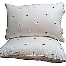 White Bed Pillow With Polka Dots (Pair- Pure fibre filled)