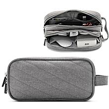 Men Women Multifunction Earphone Charging Wire Portable Power Source Double Zippers Storage Bag