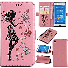 Premium Embossed Butterfly Girl PU Leather Wallet Folio Flip Cases with Detachable Wrist Strap Card Slots Kickstand Function Cover Case for Sony Xperia Z3  XYX-S