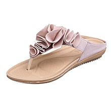 Blicool Shop Women Sandals Women's Summer Beach Flip Flops Casual Flat Shoes Lady Pretty Floral Sandals-Pink