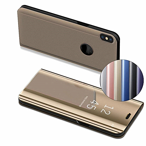 separation shoes 85cf3 39ff4 IPhone XS Max Leather Case Cover With Plating Mirror And Flip Stand  Function - Gold