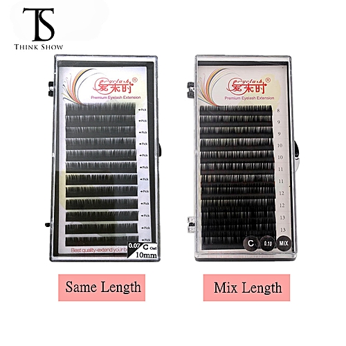 3bf8f7535a3 Generic THINKSHOW All Sizes Individual Eyelashes Natural Lashes Extension  Maquiagem Cilios for Professionals Faux Mink Eyelash ExtensionCurl:B  Thickness: ...