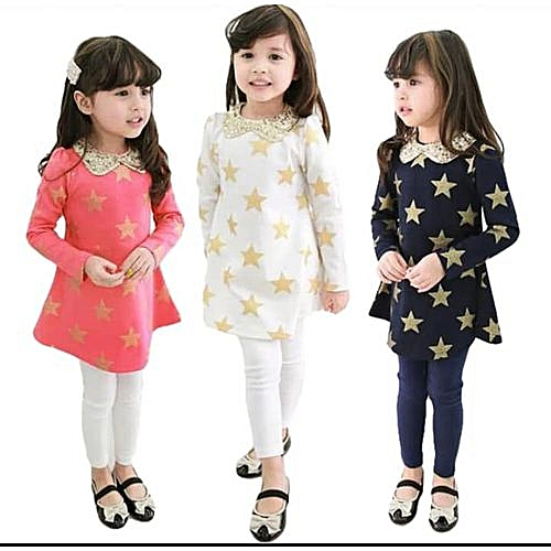 cd620eead Fashion New 2019 White Baby girl Long Dress Top; embellished with golden  stars