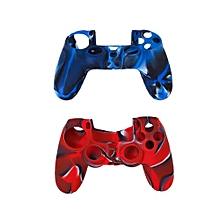 2pcs Silicone Protective Cases + 2 Pairs Plastic Joystick Caps For PS4 Controller - Navy Blue + Red