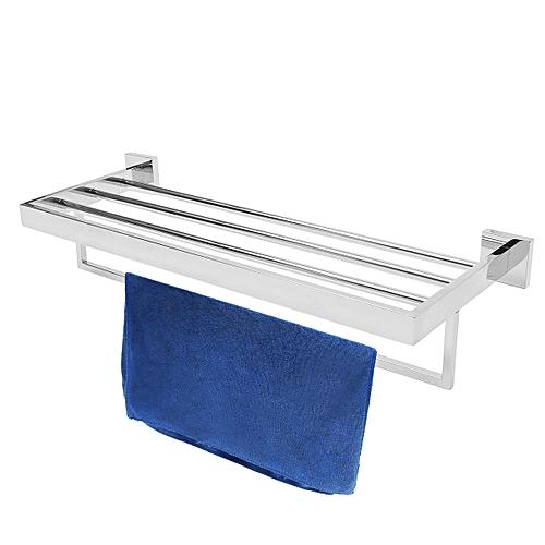 Bathroom Square Towel Shelf And Bar Chrome Plated Wall Mounted Rack Rails