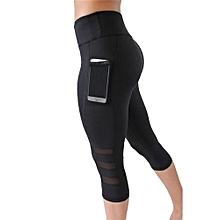 Fitness Women Yoga Leggings  Gym Sports Pants Workout Tights  Slim Mesh Yoga Sportswear Hips Black