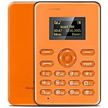 AIEK Q3 1.0 inch Card Phone Bluetooth FM MP3 Playback Audio Player Alarm Calculator ORANGE