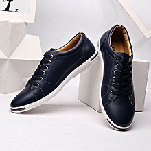 Men's Leather Casual Shoes Classic Fashion Male Lace up Flats Black White Men Krasovki Flat Heel Sneakers tenis masculino-black