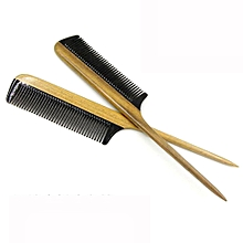 Horn Comb Wood Handle Hair Comb Large Fine Tooth Handmade Hair Brush-Brown
