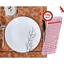 "Set of 6 Diva 10"" Microwave Safe Dinner Plates - Golden Fall (+ Free Gift Hand Towel)."