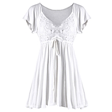 Lace Insert Drawstring Empire Waist Blouse - White