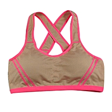 singedanWomen Yoga Fitness Stretch Workout Tank Top Seamless Racerback Padded Sports Bra -Khaki