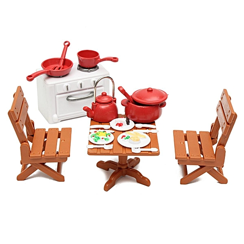Generic Dining Table With 4 Chairs Set Miniature Dollhouse Furniture