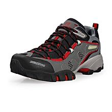 Spring Autumn Men Sports Outdoor Trekking Shoes Breathable Mesh Hiking Mountain Climbing Shoes Waterproof Anti-skid - red