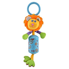 Baby Infant Rattles Handbell Wind Chime Plush Animal Stroller Hanging Bell Toy Doll Blue Lion