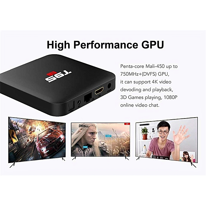 T95S1 64Bit 2GB RAM 16GB ROM + 6 Months Myiptv Subscription (1 Year  Warranty) (Black) BYX-A