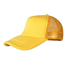 New Arrival Adjustable Child Solid Casual Hats For New Classic Trucker Summer Kids Baseball Golf Mesh Cap Sun Hats(Yellow)