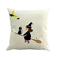 Happy Halloween Pillow Cases Linen Sofa Cushion Cover Home Decor C-Multicolor