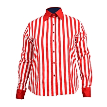Red/white striped ladies blouse