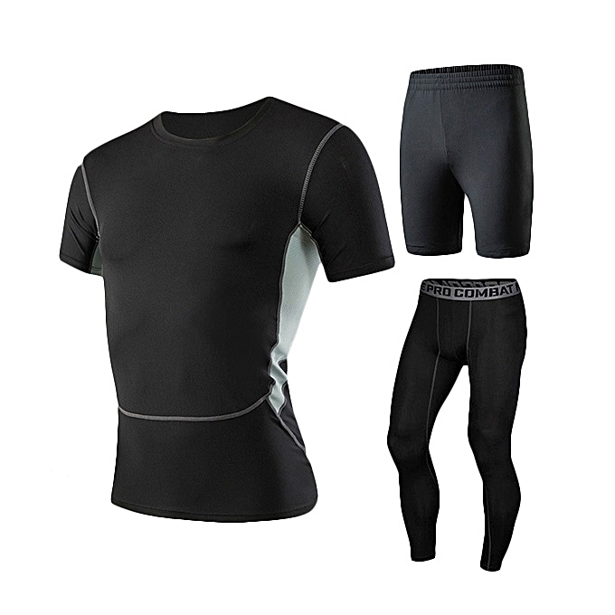 a9835446 Men's Fitness Three-piece Gym Sportswear Casual Quick-drying Tights Running Sports  Suit