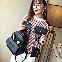 4Pcs Women's Cute Rabbit Printing Backpack+Crossbody Bags+Handbag+Card Holder BK