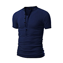 Generic Men's Summer Casual Solid Patchwork V-neck Short Sleeved T-shirt Top Blouse  A1