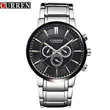 Watches, 8001A Luxury Brand Watch Men Fashion Quartz Business Casual Full Steel Wristwatch - Silver