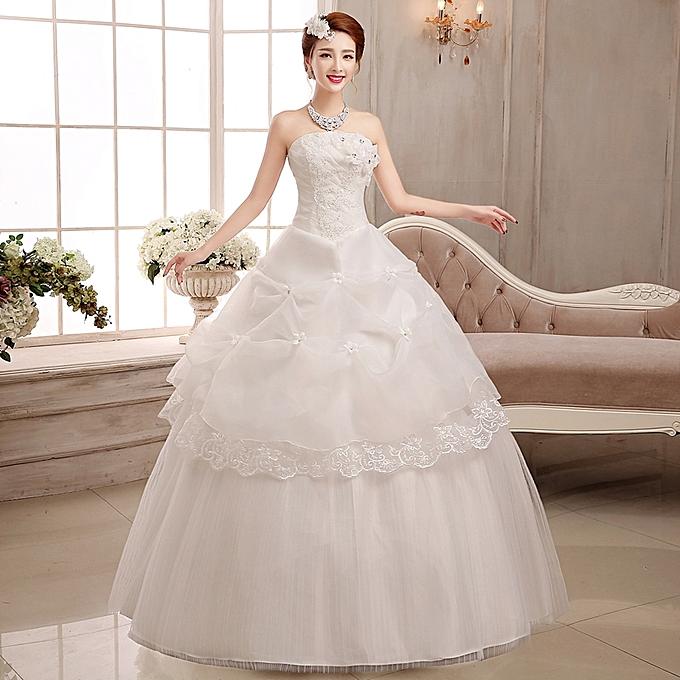 AFankara Simple Wedding Gowns, White Bride Dress @ Best