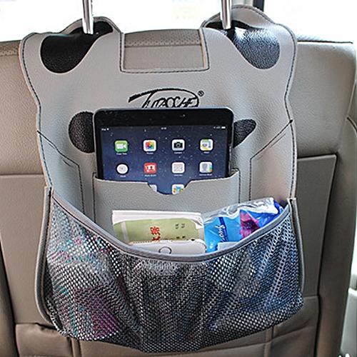 Cartoon Style Car Seat Back Organizer Hanging Bag Storage For Snacks Drinks Books Ipad