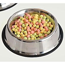 26cm Bottom Diameter Pet Food Or Drink Water Bowl Dish - Silver
