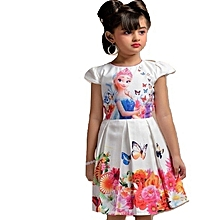 Frozen white cotton dress with floral & butterfly prints