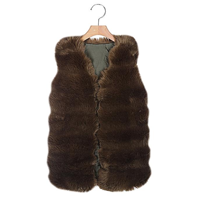 201892c1945a7 Fashion Women Winter Thick Faux Fur Sleeveless Long Waistcoat - ARMY GREEN