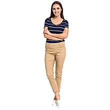 Beige Fashionable Regular Waist Stretch Skinny Trousers