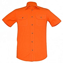 Orange Mens Short Sleeved Slim Fit  Shirts