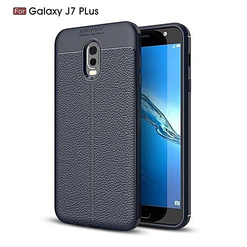 reputable site e021c 230e1 Samsung Galaxy J7 Plus(J7+) Silicone Case Litchi Pattern TPU Anti-knock  Phone Back Cover - Blue