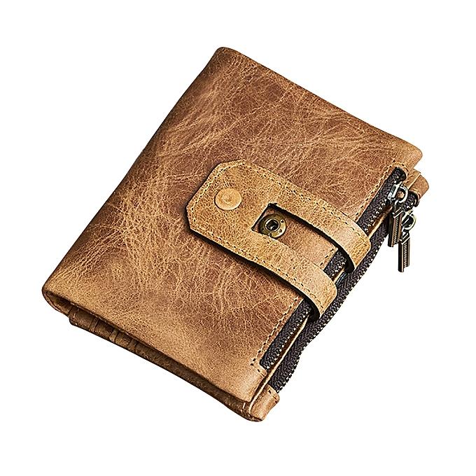 Buy bluelans vintage genuine leather zipper coin purse short wallet vintage genuine leather zipper coin purse short wallet business card cash holder yellow brown colourmoves