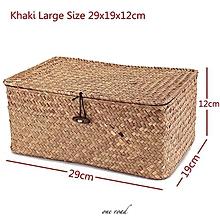 Wicker Woven Utility Storage Basket Box Organizer With Lid   Lock Large Sized